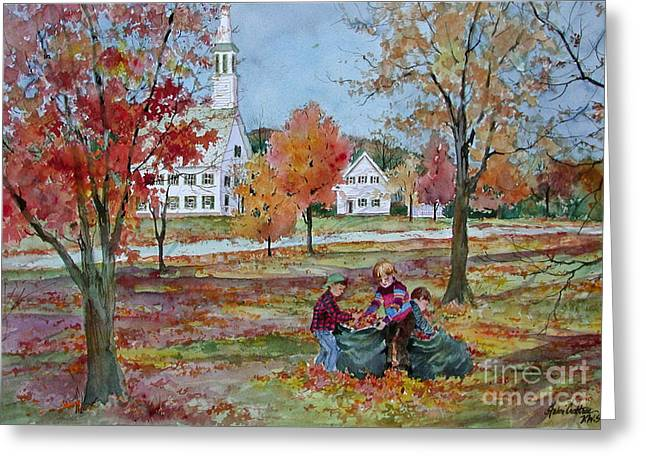 New England Village Paintings Greeting Cards - The Leaf Gatherers Greeting Card by Sherri Crabtree