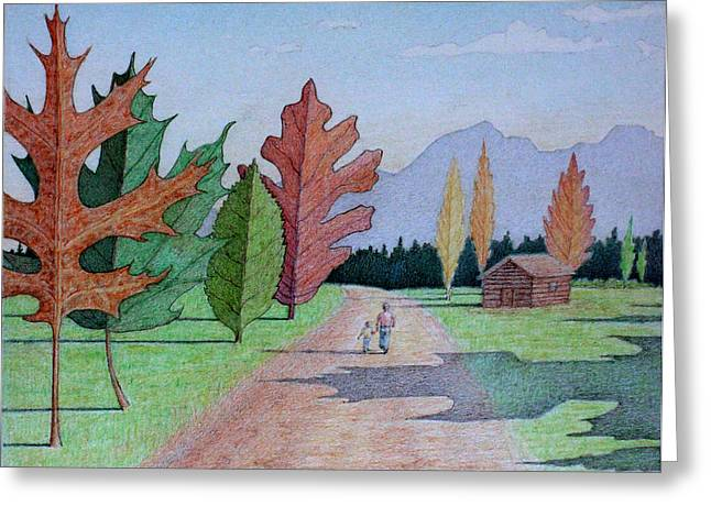 Surreal Landscape Drawings Greeting Cards - The Leaf Trees Greeting Card by Ben Sapia