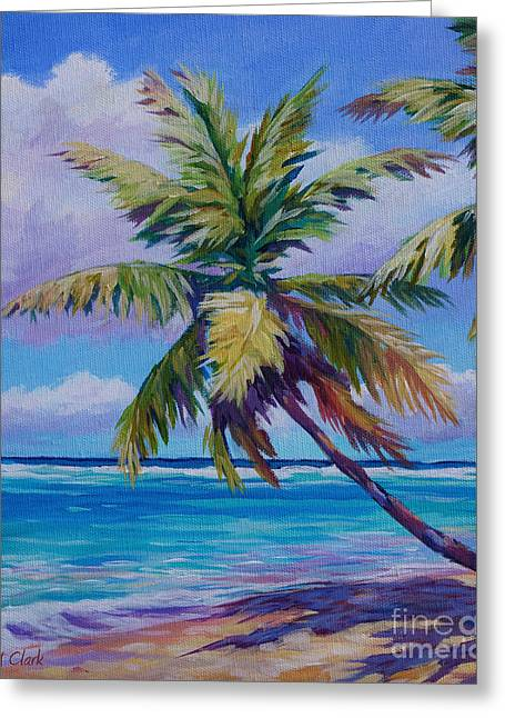 ; Maui Paintings Greeting Cards - The Leaning Palm Greeting Card by John Clark