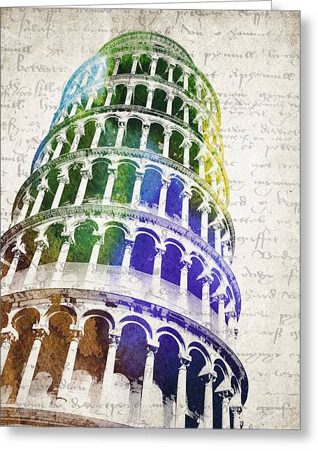Campanile Greeting Cards - The Leaning Tower of Pisa Greeting Card by Aged Pixel