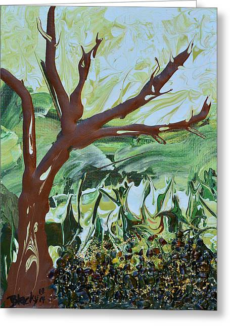 Art In Acrylic Greeting Cards - The Leaves Have Fallen Greeting Card by Donna Blackhall