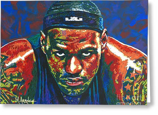 Basketball Paintings Greeting Cards - The LeBron Death Stare Greeting Card by Maria Arango