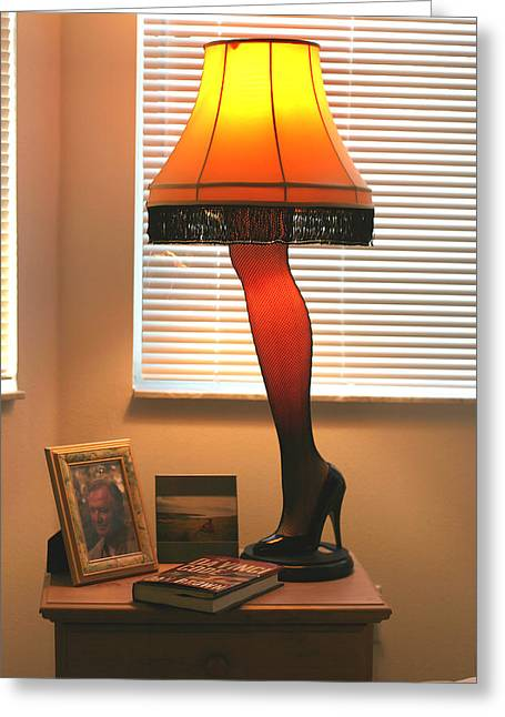 A Christmas Story Greeting Cards - The Leg Lamp Greeting Card by Carl Purcell
