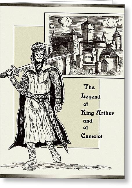 Camelot Drawings Greeting Cards - The Legend Of A King Greeting Card by Hartmut Jager