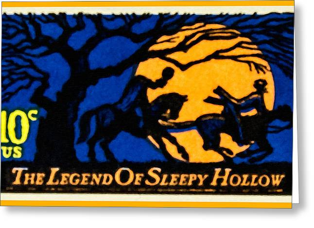 Ichabod Greeting Cards - The Legend of Sleepy Hollow stamp Greeting Card by Lanjee Chee