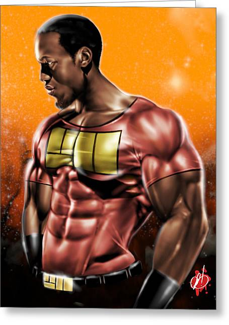 Will Power Greeting Cards - The Legend of Will Power Greeting Card by Pete Tapang