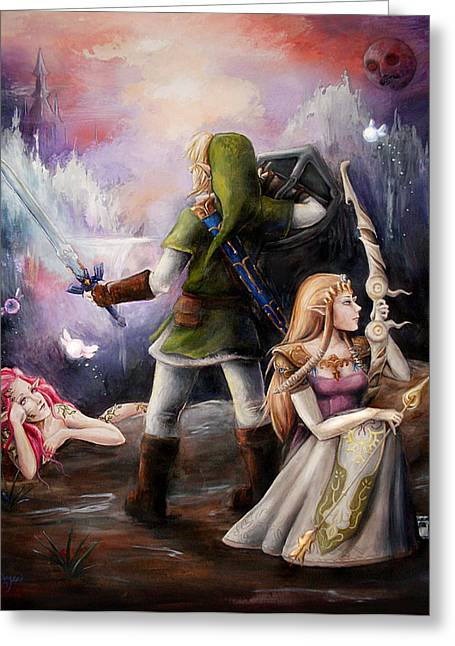 Linked Paintings Greeting Cards - The Legend of Zelda Greeting Card by Brynn Elizabeth Hughes