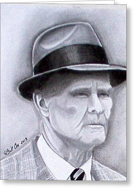 Pro Football Drawings Greeting Cards - The Legend Tom Landry Greeting Card by William Cox
