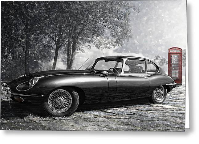 Black Cat Fantasy Greeting Cards - the legendary E-Type Greeting Card by Joachim G Pinkawa