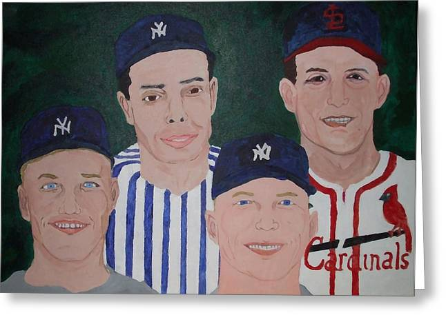 Mickey Mantle Portrait Greeting Cards - The Legends of the Game Greeting Card by Pharris Art