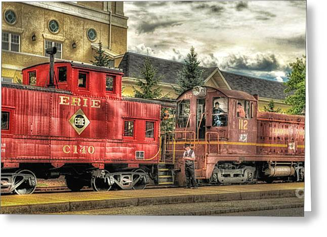 Old Caboose Greeting Cards - The Lehigh Valley Express Greeting Card by Arnie Goldstein