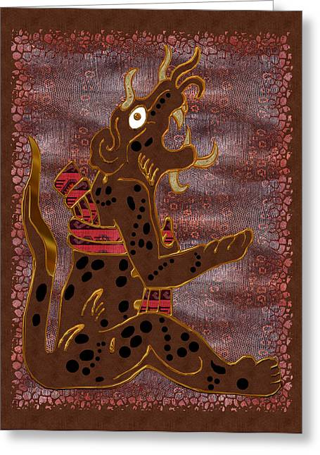 Mayan Jaguar Greeting Cards - The Leopard Man Mayan Greeting Card by Sharon and Renee Lozen