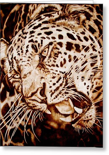 Woodburnings Pyrography Greeting Cards - The Leopards Hello Greeting Card by Cynthia Adams