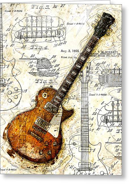 Music Print Greeting Cards - The 1955 Les Paul Custom Greeting Card by Gary Bodnar