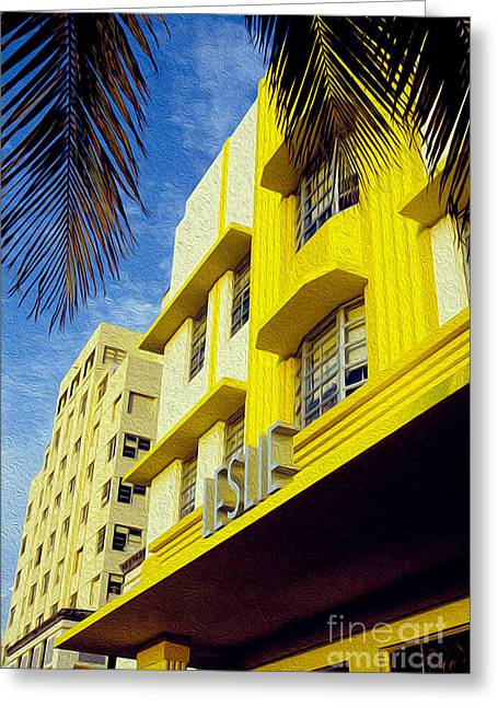 Miami Skyline Greeting Cards - The Leslie Greeting Card by Jon Neidert