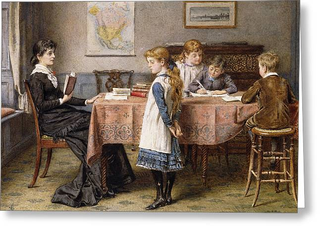 Water Color Artist Greeting Cards - The Lesson Greeting Card by  George Goodwin Kilburne
