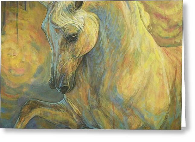 Horse Artist Greeting Cards - the Lesson Greeting Card by Silvana Gabudean
