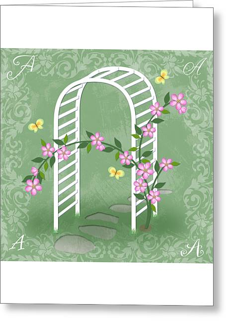 Illustrated Letter Greeting Cards - The Letter A for Arbor Greeting Card by Valerie   Drake Lesiak
