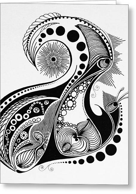 Pen And Ink Drawing Photographs Greeting Cards - The Letter a Greeting Card by Kelly Hazel