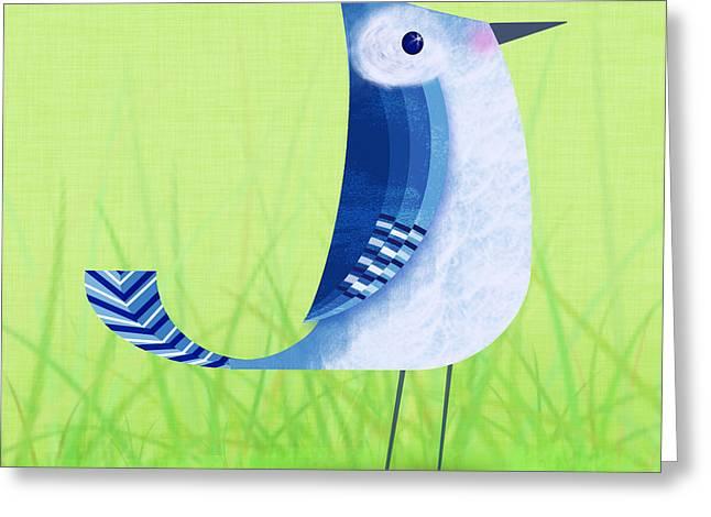 The Letter Blue J Greeting Card by Valerie   Drake Lesiak