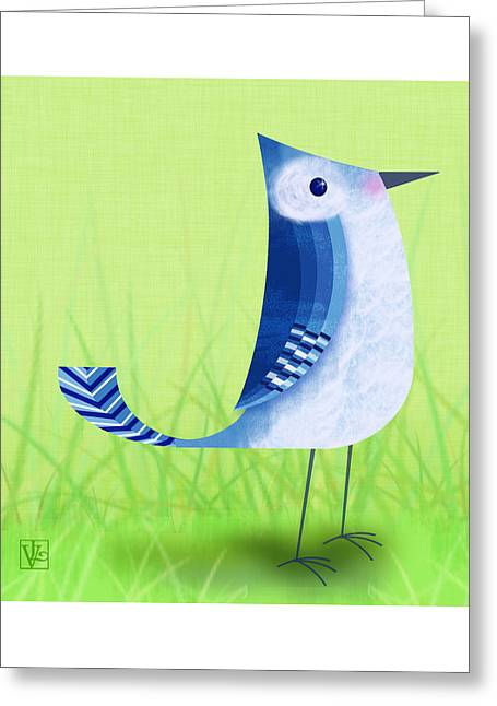 Cute Bird Greeting Cards - The Letter Blue J Greeting Card by Valerie   Drake Lesiak