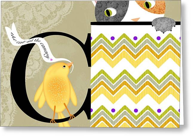 Valerie Lesiak Greeting Cards - The Letter C for Cat and Canary Greeting Card by Valerie   Drake Lesiak