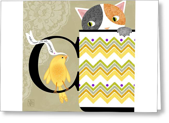 The Letter C For Cat And Canary Greeting Card by Valerie Drake Lesiak