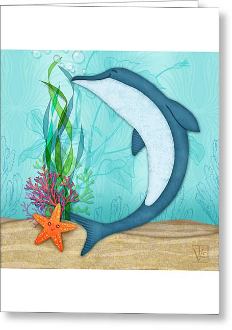 Valerie Drake Lesiak Greeting Cards - The Letter D for Dolphin Greeting Card by Valerie   Drake Lesiak