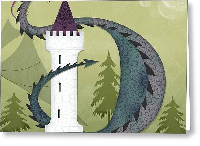 Valerie Lesiak Greeting Cards - The Letter D for Duncan the Dragon Greeting Card by Valerie   Drake Lesiak