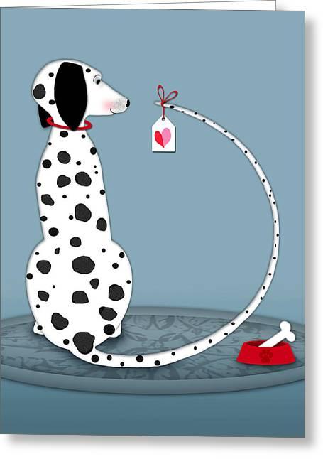 The Letter D For Dalmatian Greeting Card by Valerie Drake Lesiak
