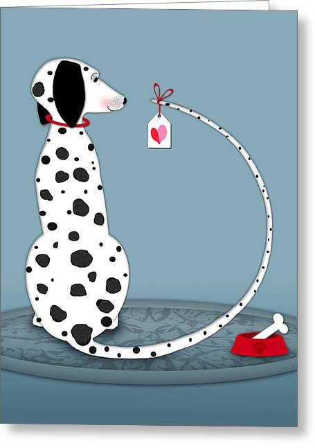 Valerie Drake Lesiak Greeting Cards - The Letter D for Dalmatian Greeting Card by Valerie   Drake Lesiak