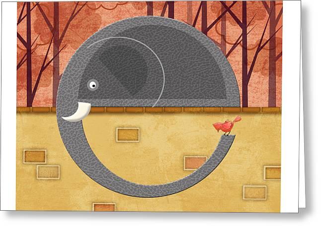The Letter E For Elephant Greeting Card by Valerie Drake Lesiak