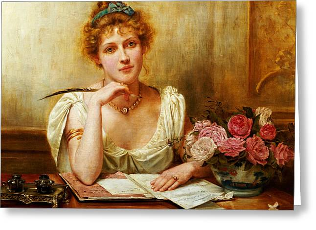 Composing Greeting Cards - The Letter  Greeting Card by George Goodwin Kilburne