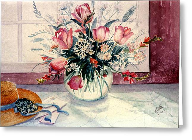 Glass Vase Greeting Cards - The Letter Greeting Card by Marilyn Smith