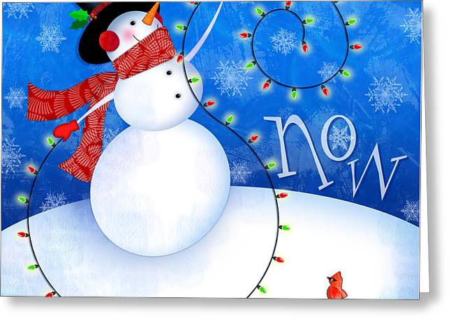 Snow Scene Mixed Media Greeting Cards - The Letter S for Snowman Greeting Card by Valerie   Drake Lesiak