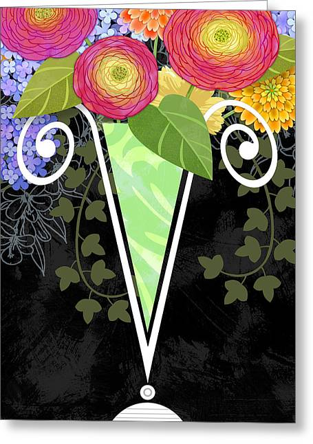 Vase Of Flowers Mixed Media Greeting Cards - The Letter V for Vase of Various Flowers Greeting Card by Valerie   Drake Lesiak