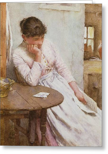 Lost In Thought Paintings Greeting Cards - The Letter  Greeting Card by Walter Langley