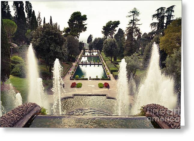 Villa Deste Greeting Cards - the level gardens and fish ponds at Villa dEste gardens Tivoli Greeting Card by Peter Noyce