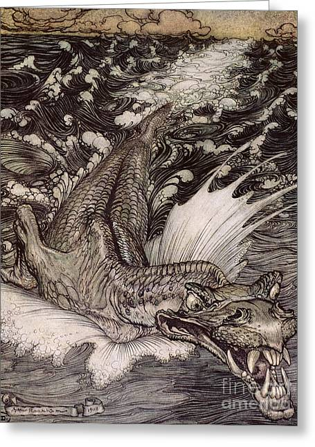 Fangs Greeting Cards - The Leviathan Greeting Card by Arthur Rackham