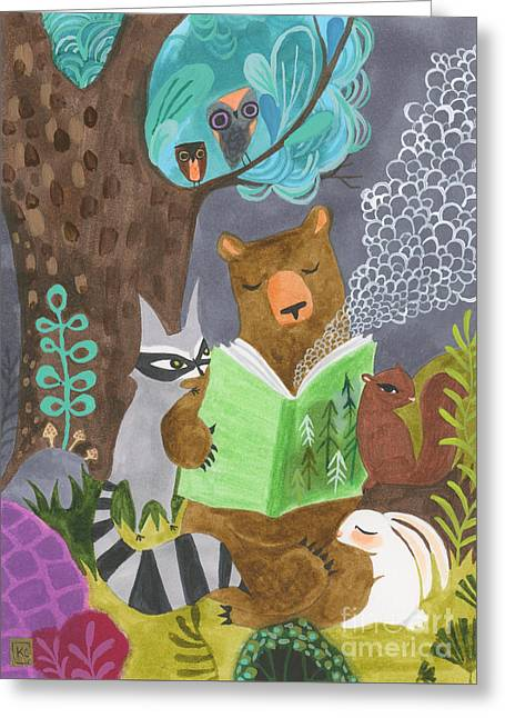 Kids Books Drawings Greeting Cards - The Libearian Greeting Card by Kate Cosgrove