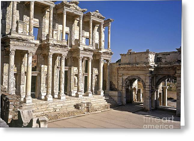 Library Of Celsus Greeting Cards - The Library at Ephesus Greeting Card by Alex Cassels