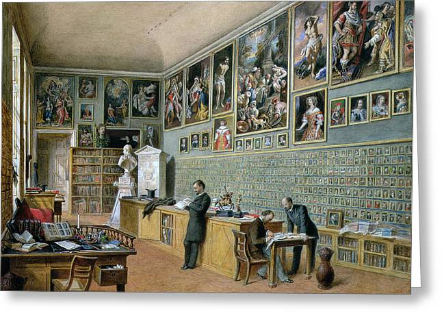 Clerk Greeting Cards - The Library, In Use As An Office Of The Ambraser Gallery In The Lower Belvedere, 1879 Wc Greeting Card by Carl Goebel