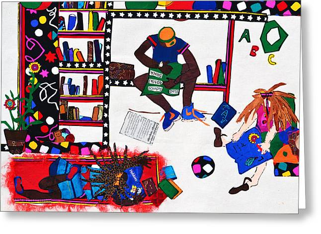 Child Tapestries - Textiles Greeting Cards - The Library Greeting Card by Ruth Yvonne Ash