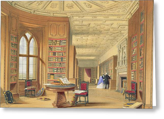 Gothic Revival Greeting Cards - The Library, Windsor Castle, 1838 Greeting Card by James Baker Pyne