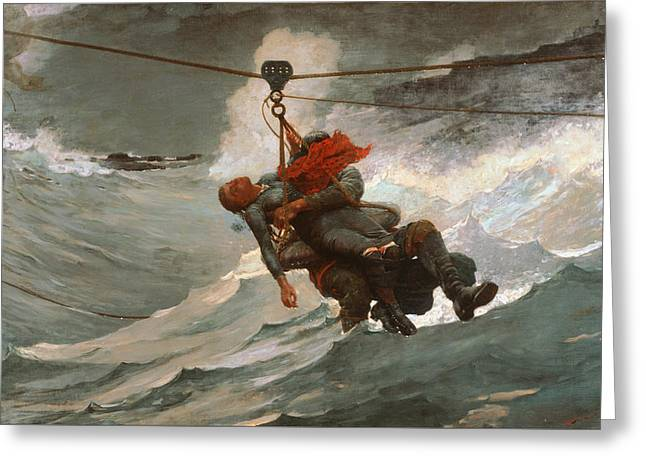 The Life Line 1884 Greeting Card by Winslow Homer