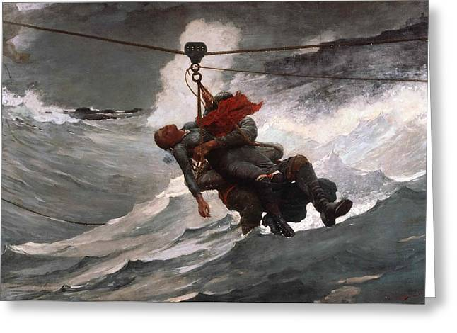 Life Line Greeting Cards - The Life Line Greeting Card by Winslow Homer