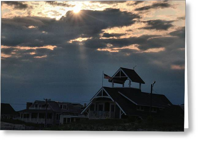 Stein Greeting Cards - The  lifeguard House with sun rays Greeting Card by Valerie Stein