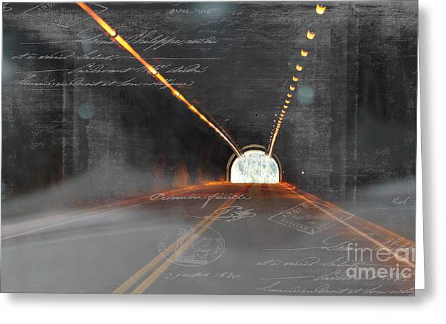 Caves Greeting Cards - The Light At The End Of The Tunnel Greeting Card by Janice Rae Pariza