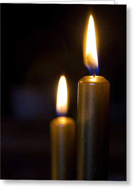 Candle Lit Greeting Cards - The Light In The Dark Greeting Card by Sophie De Roumanie