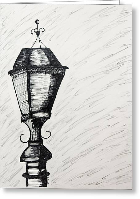 Night Lamp Drawings Greeting Cards - The Light is Out Greeting Card by Karin Celeste